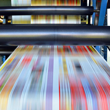 Magazines on printing press
